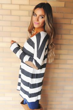 Grey/Ivory Striped Elbow Patch Top - Dottie Couture Boutique