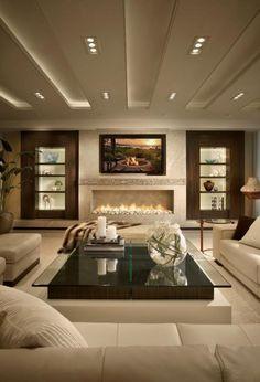 plafond lumineux, spots de plafond et lumière led, séjour beige original