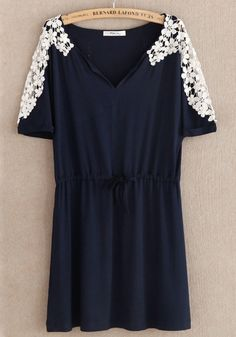 Navy Blue Patchwork Lace Drawstring Hollow-out Dress