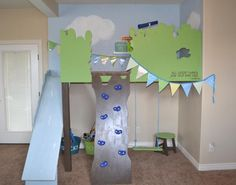 Mel, ask jake what it would cost for him to build this but safer. Lower, with high sides on slide and ladder. indoor tree house loft with slide and rock climbing wall, I Am Hardware featured on Remodelaholic Indoor Playroom, Kids Indoor Playhouse, Indoor Swing, Build A Playhouse, Indoor Playground, Inside Playground, Kid Playroom, Playroom Design, Playground Ideas