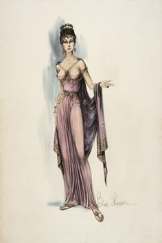 Costume Sketch of Jean Simmons as Varinia in the Universal Pictures Production, 'Spartacus' | LACMA Collections