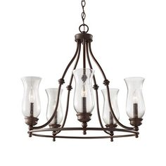 Feiss F2783/5HTBZ Pickering Lane 5-Light Single Tier Chandelier This product by Feiss is available in a heritage bronze finish. It is offered with clear