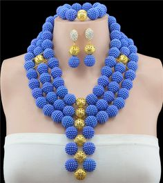 2016 Fashionable Blue Nigerian Wedding African Beads Jewelry Sets Costume Indian Bridal Necklace Jewelry Set Free Shipping #Affiliate Bridal Jewelry Sets, Bridal Necklace, Necklace Set, Wedding Jewelry, Pearl Necklace, African Beads, African Jewelry, Royal Blue And Gold, Blue Gold