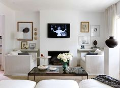 All white Living Room by Lindsey Bond - love the whole thing though I know I would make a mess of the white furniture.