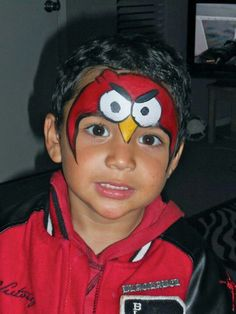 Red angry bird. By magaly sparkle facepaint.