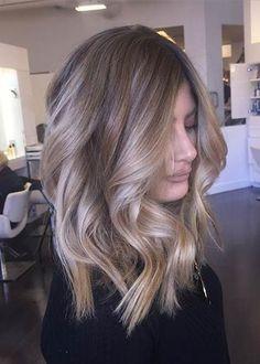 Curly Medium Beige Blonde Lob Hair style