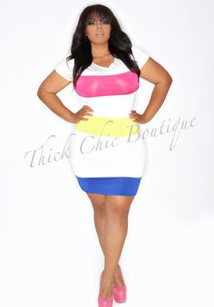 Fun and Flirty colors. Great for date night. Sexy way to show off your beautiful curves. color Band Fitted Dress, $37.00 by Thick Chic Boutique