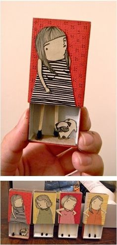 Matchbox illustration by Mai Ly. Could be fun craft /self portrait for kids Matchbox Crafts, Matchbox Art, Paper Dolls, Art Dolls, Fabric Dolls, Paper Art, Paper Crafts, Paper Glue, Art Crafts