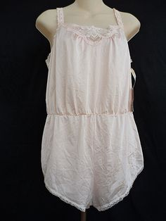 Olga Vintage Lace Romper Teddy Lingerie Pink Size Medium New With Tags #Olga