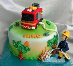 Fireman Sam Cake 4th Birthday Parties, 3rd Birthday, Fireman Sam Cake, Fire Fighter Cake, Fire Cake, Sam Sam, Cakes For Boys, Cupcake Cakes, Cake Decorating