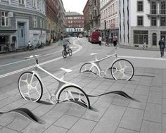 Projeto para estacionamento de bicicletas em Copenhagem, na Dinamarca. Ideia do escritório de arquitetura RAFFA.