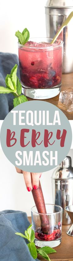 Tequila Berry Smash - a delicious cocktail made healthier with honey simple syrup and 100% agave tequila!
