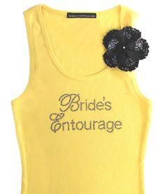 Brides Entourage Tank Top or T-Shirt $24.95; bride tank, rhinestone tank top, bridesmaid tanks, wedding apparel, #wedding