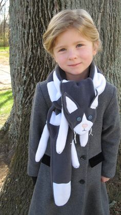 Items similar to Cat Scarf on Etsy Fleece Projects, Baby Sewing Projects, Sewing Patterns For Kids, Sewing For Kids, Fleece Hats, Fleece Scarf, Sewing Scarves, Cat Scarf, Recycled Sweaters