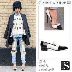 you don't need hight heels to be la crème de la crème... just a pair of black&white slippers! Streetstyle #BlackWhite #ShotnShop #fashion #app