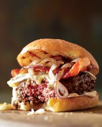 Bacon Burgers on Brioche Buns -  The burger at Tyler Florence's Wayfare Tavern in San Francisco is called Le Grand with good reason: It's a custom blend of ground prime rib, brisket, skirt steak and tenderloin, topped with Nueske's bacon and Cowgirl Creamery's triple-cream Mt. Tam cheese. The recipe is also delicious with a mix of chuck and sirloin.