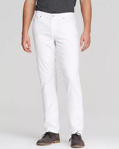 AG Jeans - Graduate Tapered Fit in White Men - Bloomingdale's White Pants Men, Mens Chino Pants, Ag Jeans, White Man, White White, Elegant Outfit, Mens Fashion, Fitness, Shopping