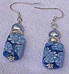 Silver/White Potato Pearl Blue Glass Bead w/White Flower Earrings   AmeliaOriginals - Jewelry on ArtFire
