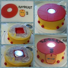 Iron Man cake in red/yellow/gold for baby Robert's 3rd birthday. So super easy to make plus sweet boy gets a super hero nightlight to boot!