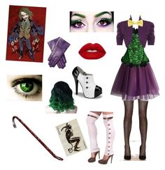 """Female Joker inspired outfit"" by rosethorndyke2000 ❤ liked on Polyvore featuring Privileged, WearAll, Lime Crime, Masquerade, Maison Fabre and plus size clothing"