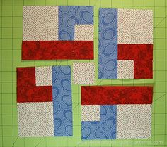 Arrange the pieced units and center square in the order they'll be sewn together