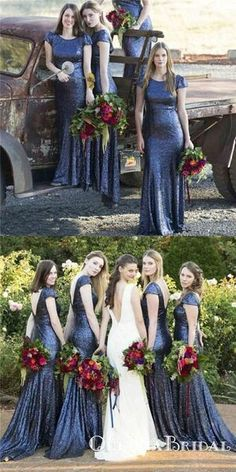 Previous Next Mermaid Round Neck Backless Dark Blue Sequined Bridesmaid Dresses, Meerjungfrau Rundhals Dunkelblau Pailletten Brautjungfernkleider, Previous Next How To Dress For A Wedding, Luxury Wedding Dress, Wedding Party Dresses, Bridal Dresses, Dress Party, Sequin Wedding, Prom Dresses, Elegant Wedding, Wedding Hair