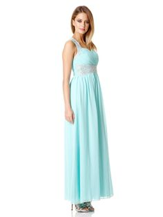 Aqua chiffon embellished maxi dress