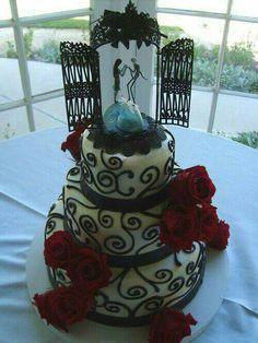 Nightmare Before Christmas themed wedding cake