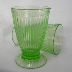 Light Green Depression Glass - Ribbed Footed Glasses - Set of 2 | DayBeforeYesterday - Collectibles on ArtFire