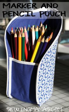 sewing tutorial from ikatbag for zippered school supply pouch with colored…