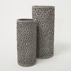 Tall Etched Cylinder Vase