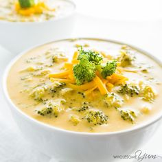 This easy, creamy low carb broccoli cheese soup is gluten-free, healthy, and needs just 5 ingredients. Ready in only 20 minutes!