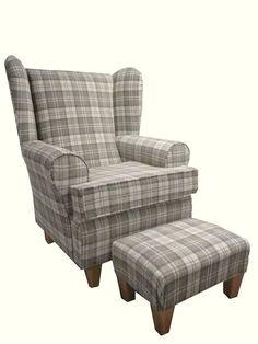 LATTE TARTAN FABRIC WINGED BACK CHAIR/ FIRESIDE CHAIR WITH MATCHING FOOTSTOOL in Home, Furniture & DIY, Furniture, Sofas, Armchairs & Suites   eBay