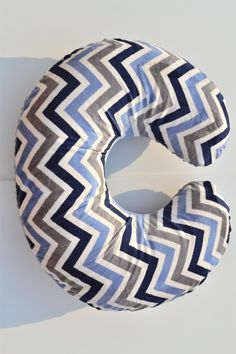 Minky Boppy Cover Navy/Denim/Ivory Chevron & Minky by BabyGowdy $25.00