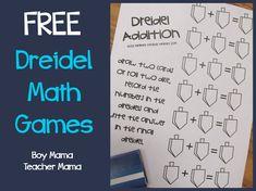 Boy Mama Teacher Mama: FREE Printable Dreidel Math Game {After School Linky}
