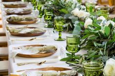 Lunch Table Settings, Thanksgiving Table Settings, Party Salads, Wood Chargers, Color Of The Year 2017, Beautiful Table Settings, Green Table, Table Arrangements, Summer Parties