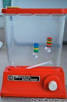 90s toy - water ring toss.  You know you were an OCD kid if your real goal was to win the ring toss by sorting the colors!!!  ;)