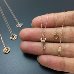 Gold key necklace diamond key pendant symbolic jewelry by youzan on Etsy