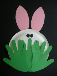 Ooooh! Who's peeking from behind the grass? Why it's a cute little bunny! A simple craft for spring, Easter, letter R, etc. for a cute bulletin board idea, use small sized plates.