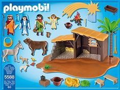 PLAYMOBIL Nativity Stable with Manger Play Set PLAYMOBIL Nativity Stable with Manger Play Set Celebrate the miracle of Christmas with the Nativity Stable with Manger. The functioning lantern provides the perfect amount of light to set this magical scene. Play with this set on its own or combine with the Three Wise Kings (#5589) for more fun. Set includes five figures, stable, lantern, lamb, palm tree, shooting star, haystack, bonfire and other accessories. Recommended for ages four..