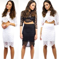 Monochrome loving in our Elavonza Kendall lace top & skirt set ❤ available in black or white which one do you prefer?  Get it here at www.elavonza.com Fast shipping worldwide ✈ #Elavonza #laceset #lacetop #laceskirt #whitelace #blacklace #laceoutfit #ootd #ootn #fashionista #fashionblogger #bridalinspo #cocktailparty #cocktaildress #bridetobe #kitchentea #bridalshower #engaged #styleblogger #stylish #chicstyle #bloggerstyle #onlineboutique #highstreetfashion #highfashion #fashionstylist