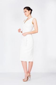 Sleeveless wrap vest with sash belt attached. Can be worn on its own as a... Sash Belts, White Dress, Vest, Dresses For Work, Model, Fabric, How To Wear, Black, Tops