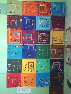 the square - Preschool-Kindergarten School Art Projects, Art School, Kindergarten Art, Preschool Activities, Ecole Art, Math Art, Shape Art, Collaborative Art, Elements Of Art