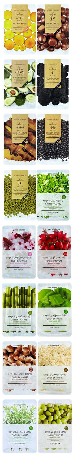 [Nature Republic] Given By Nature Mask Sheet Fruit Packaging, Food Packaging Design, Pretty Packaging, Cosmetic Packaging, Packaging Design Inspiration, Brand Packaging, Skincare Packaging, Food Branding, Branding Design
