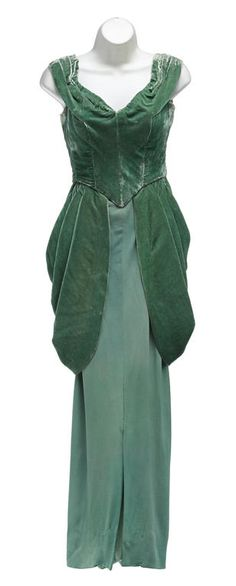 Emerald green velvet and crepe evening gown with portrait neckline was worn by Judy Garland in Easter Parade (1948)