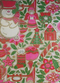 Christmas •~• vintage green, pink, red, and white gift wrap