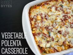 This Vegetable Polenta Casserole is full of flavor and gluten free! Step by step photos.