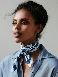 Chelsea Printed Silk Bandana | Vintage-inspired bandana featuring a bold print. Perfect for tying up your tresses or knotting around your neck.