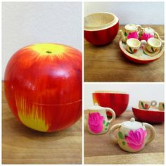 Vintage Wooden Apple Tea Set Miniature Apple by FoxLaneVintage, $36.50