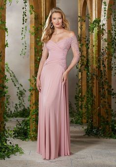 0c9c6933be8981 MGNY by Morilee 71921 Sheer Sleeve Ruched Mothers Gown